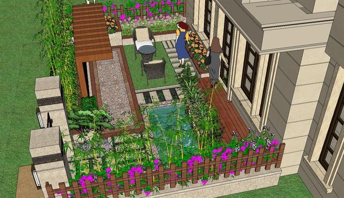 别墅庭院花园景观设计su模型景墙喷水景观sketchup 院子现代简洁[原创