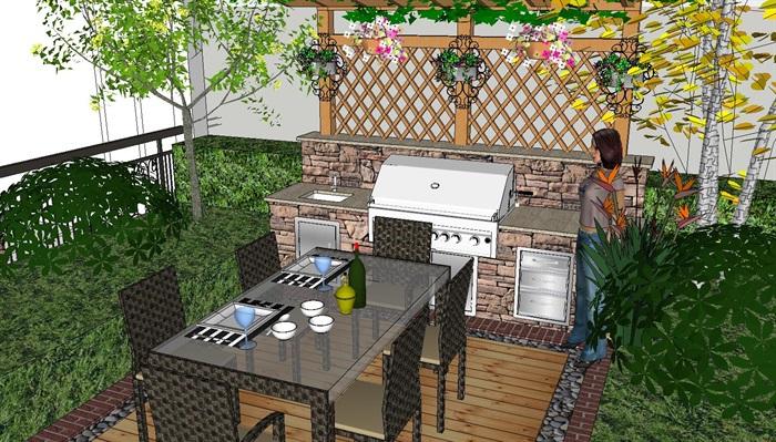 意式风格别墅庭院花园景观su模型户外餐桌烧烤体花架景墙欧式[原创]
