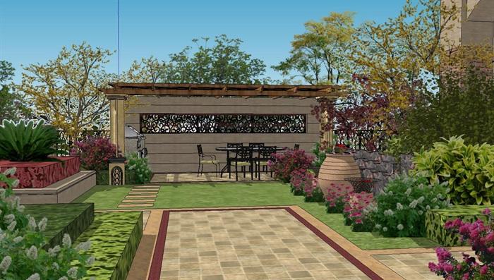 欧式别墅庭院景观设计su模型花园院子sketchup后院