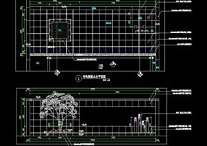 两个镜面水景施工图新中式景墙无边际水景拴马桩