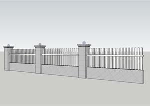 某厂区现代风格围墙模型