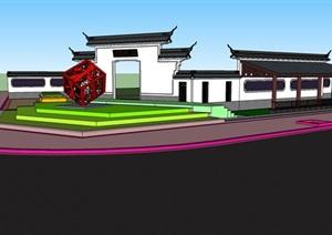 某中式风格牌楼长廊设计