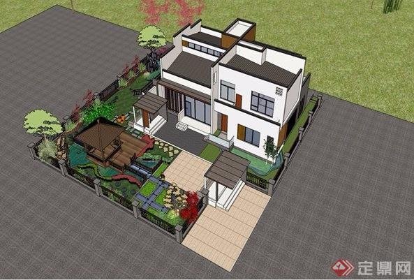 新中式别墅图纸原创su图纸+CAD螺栓[建筑]模型风格图片