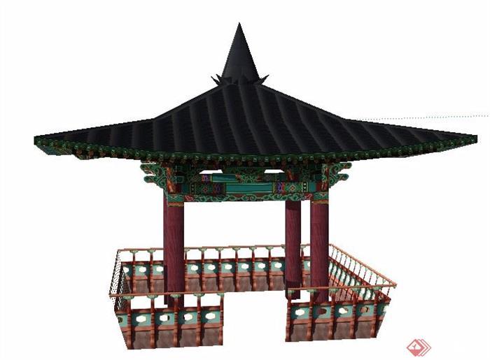 某古典中式四角凉亭素材设计su模型[原创]