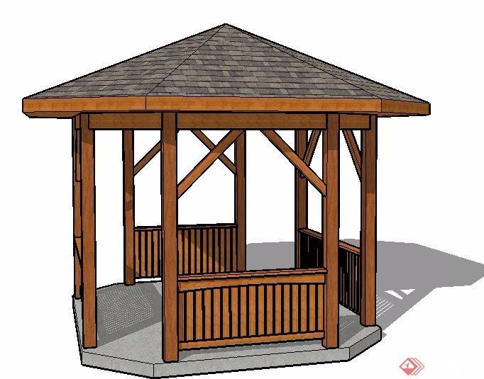 中式木凉亭单体素材su模型[原创]