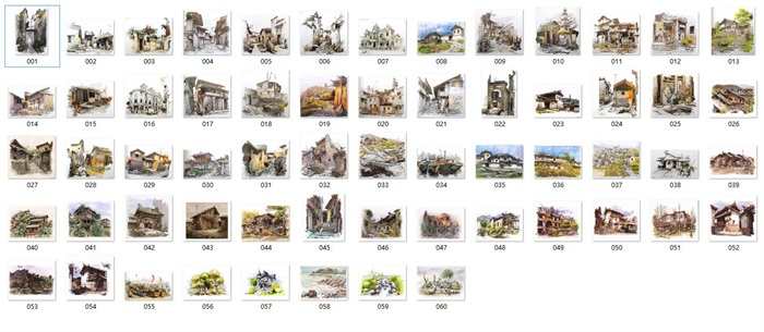 高清古建筑水彩水粉馬克筆寫生建筑風景畫(1)