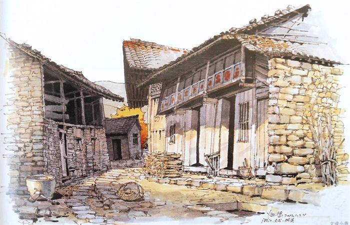 高清古建筑水彩水粉馬克筆寫生建筑風景畫(3)