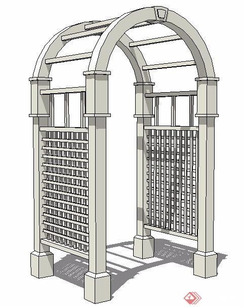 拱形花架门设计su模型[原创]