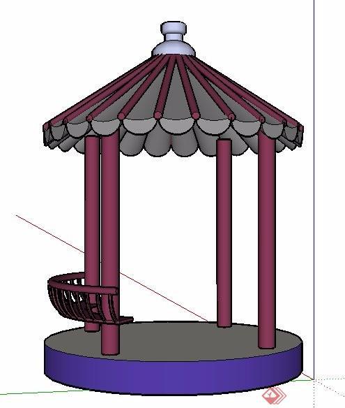 中式景观凉亭单体素材su模型[原创]