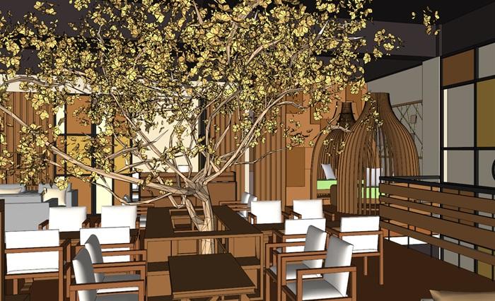 现代欧式经典木材暖色调两层咖啡馆室内设计[原创]