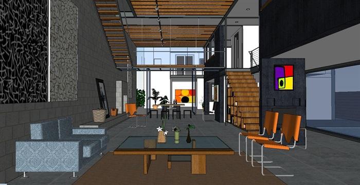 现代经典简约式私人住宅跃层室内设计(2)