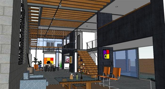 现代经典简约式私人住宅跃层室内设计(3)