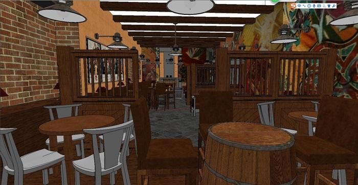 木材暖色调特色风情咖啡吧室内设计(2)