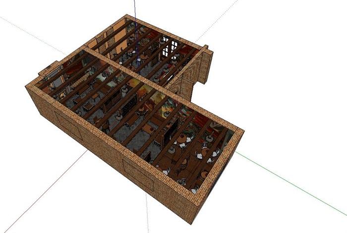 木材暖色调特色风情咖啡吧室内设计(1)