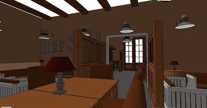 木材暖色调特色风情咖啡吧室内设计(3)