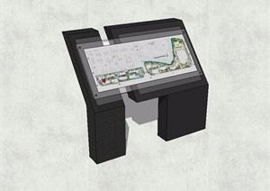 现代风格指路标识牌SU(草图大师)模型