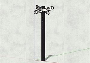 现代十字路指路牌设计SU(草图大师)模型
