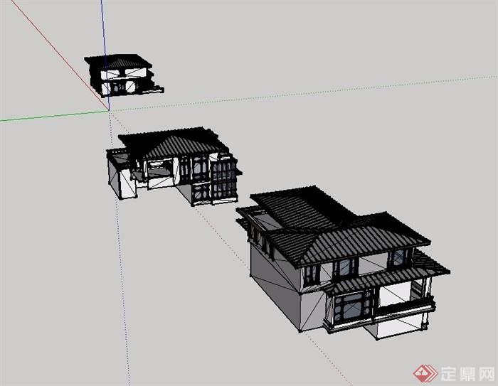 二层中式别墅SU模型