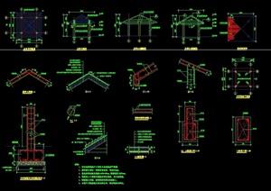 长廊亭组合详细设计cad施工图