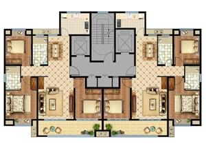 户型平面psd家具布置,地面填色