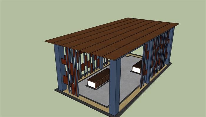 现代创意廊架设计混凝土,红砖,钢结构三组[原创]