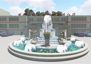 苏州厂房喷泉景观、景墙