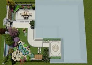 简欧风格庭院,水景、景墙、围墙