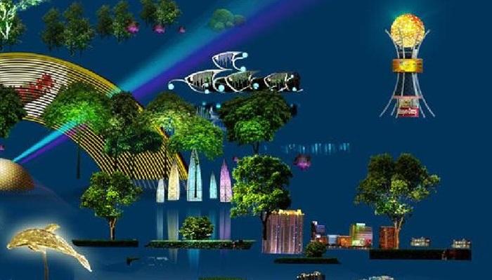 景观植物灯光夜景素材