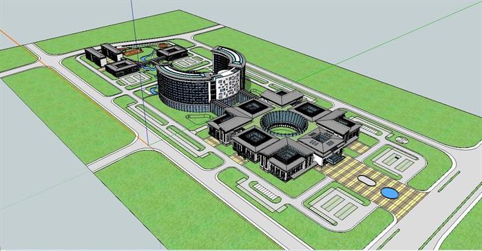 新中式坡屋顶庭院式圆弧形大型医院疗养修养中心[原创]