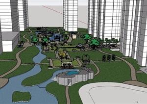 新古典ARTDECO风格住宅小区SU(草图大师)模型