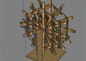 水车sketchup模型木水车模型