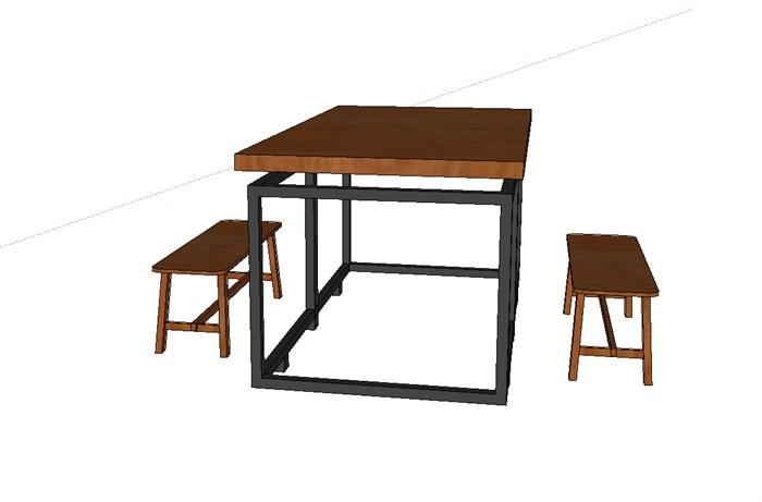 现代木制桌椅组合su模型