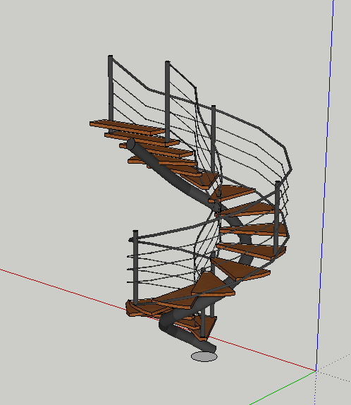 木制旋转楼梯设计su模型