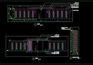 新中式廊架新中式景亭施工图详图现代中式铝板景亭景墙