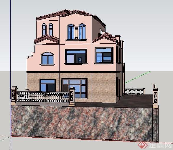 现代风格独栋别墅建筑su模型素材