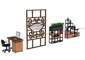 办公桌及铁艺花架设计SU(草图大师)模型