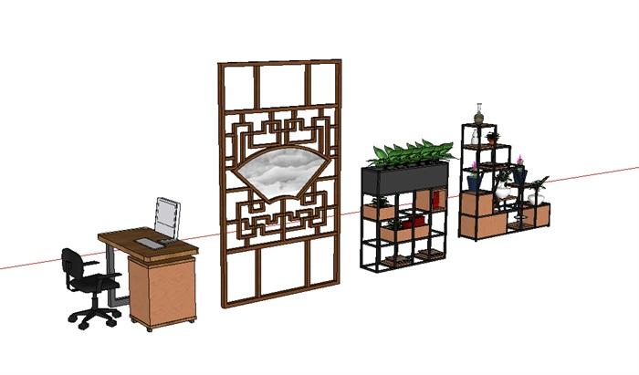 办公桌及铁艺花架(1)