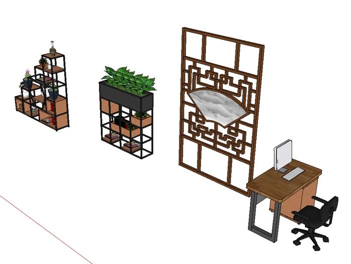 办公桌及铁艺花架(3)