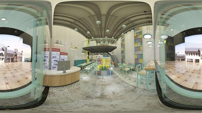 牛肉粉店室内空间设计su模型