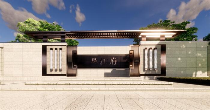 现代中式售楼部精细su模型(5)