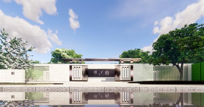 现代中式售楼部精细su模型(7)