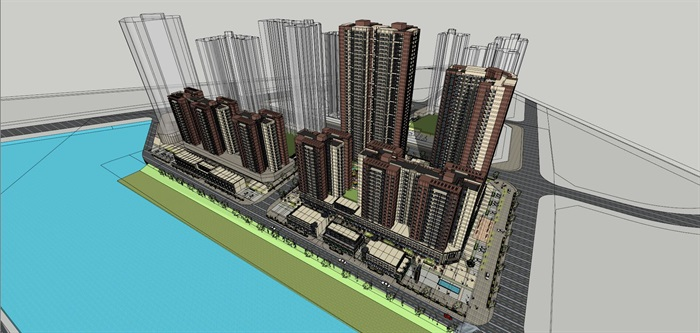 现代风格格林系列住宅高层建筑su模型