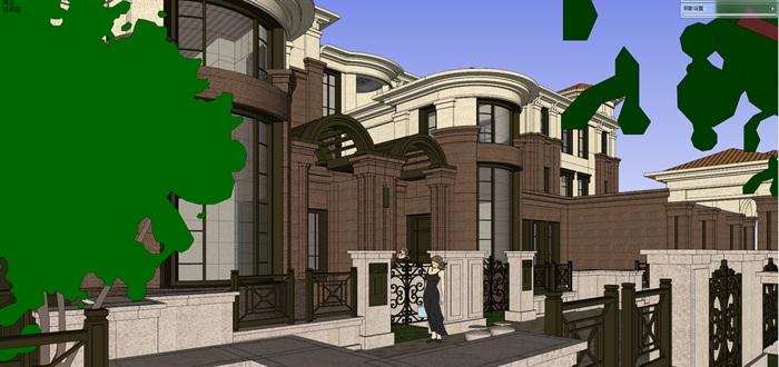 欧式风格详细别墅su精细模型