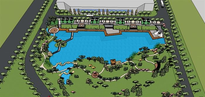 滨水景观与办公楼广场,现代休闲(3)
