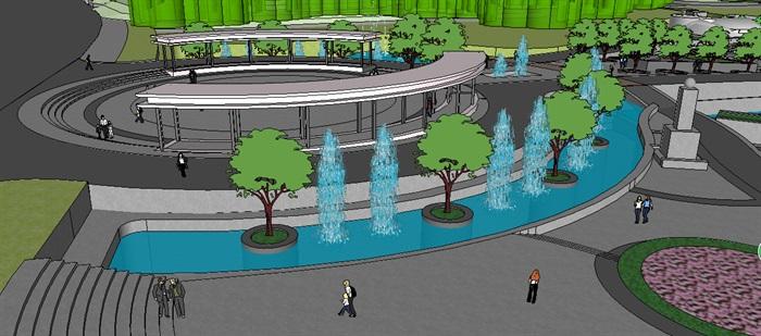 现代公园入口区景观su模型