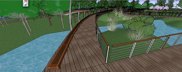 生态湿地栈道廊架SketchUp模型(1)