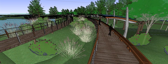 生态湿地栈道廊架SketchUp模型(2)