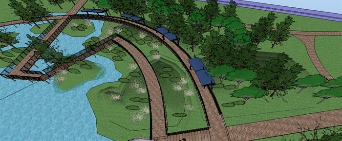 生态湿地栈道廊架SketchUp模型(3)