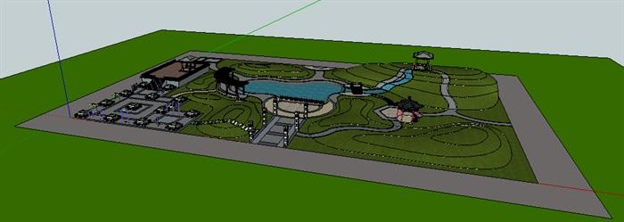 小游园景观模型结合水景su模型