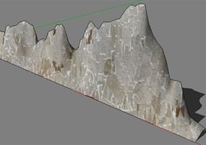 墙壁景观石头设计SU(草图大师)模型